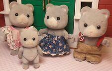 Calico Critters Sylvanian Vintage Bearbury Grey Bear Family Angela's Pajamas