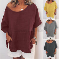 Women Linen Cotton Short Sleeve T-Shirt Tops Summer Casual Blouse Tee Shirt Plus