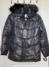 NWT Justice Puffer Hooded Sherpa Coat Sz 18/20 Black Lined Zipper  Pockets 2020