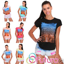 T-Shirt Awesome Print Short Sleeve Crew Neck Casual Party Top Sizes 8-14 FB127