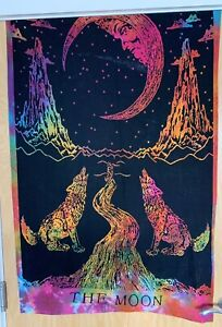 Beautiful Celestial The Moon Multi Coloured Wolf And Stars Hanging Wall Tapestry