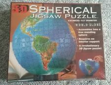 """Puzzle 3D Sperical World Globe 530 pieces 9.5"""" diameter Sealed in box"""