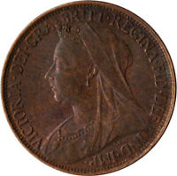 1897 ONE FARTHING OF QUEEN VICTORIA / VERY NICE COLLECTIBLE COIN / VF #WT2319