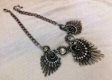 Silver Tone and dark Rhinestone Bib Collar Style Necklace Bohemian Tribal Style