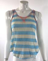 Weavers Womens Tank Top Size Small Blue Gray Orange Striped Sleeveless Shirt