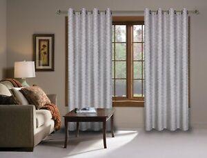CosyDomy Drapery Grommet Panel Gray Geometric Curtain Drapery for Living Room