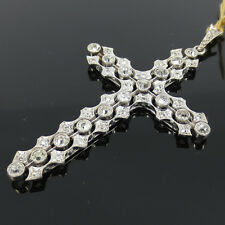 Antique 2.50ct Old Mine & Rose Cut Diamond 18K Gold Filigree Cross Pendant