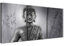 PANNELLO 3 Nero Bianco Buddha cucina Tela Immagini Decor - 3373 - 126 cm