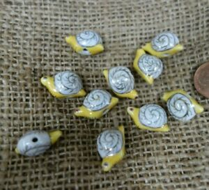 5  Vintage Czech   figural     Jewelry piece BEADS  SNAILS