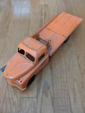 "1950s Structo Orange Pressed Steel Tow Truck Wrecker Flatbed 20"" w/ Ramp"
