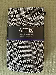 APT. 9 Black/White Control Top Tights - Size M