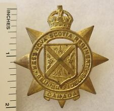 ORIGINAL WW2 Vintage CANADIAN ARMY WEST NOVA SCOTIA REGIMENT CAP BADGE