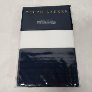 Ralph Lauren Blanc Bleu Wilford STANDARD Pillowcases White & Navy Blue