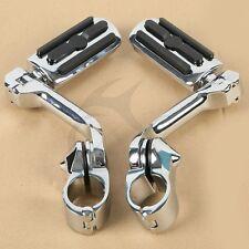 "1.25"" 32mm Long Angled Adjustable Highway Foot Pegs Crash Bar Mount For Harley"