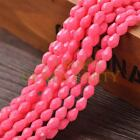 New Arrival 30pcs 8X6mm Teardrop Faceted Loose Spacer Glass Beads Deep Pink