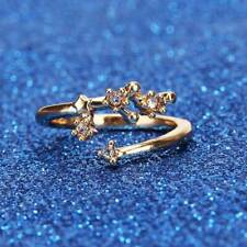 Adjustable Crystal Ring Women's Jewelry Alloy Daily Ring Star Sign Open LI