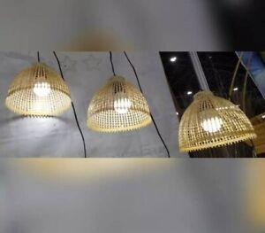 Wood Shade Woven Hang Lantern Lamp Light Room Bar Spa Home Shop Hotel Decor