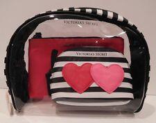VICTORIA'S SECRET RED LOVE ME COSMETIC BAG & SIGNATURE STRIPE COIN PURSE SET NEW