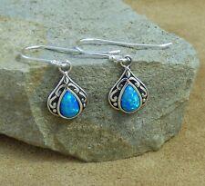 New Filigree 925 Sterling Silver & Pacific Blue Opal Teardrop Drop Earrings
