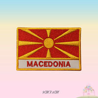 Macedonia National Flag With Name Embroidered Iron On Patch Sew On Badge