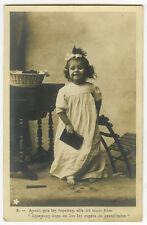 c 1903 French Children Child CUTE LITTLE GIRL w/ GLASSES photo postcard