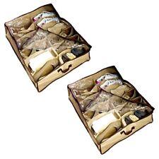 2x Unterbettbox Schuhe 12 Fächer | Schuhaufbewahrung Bett | Unterbettkommode