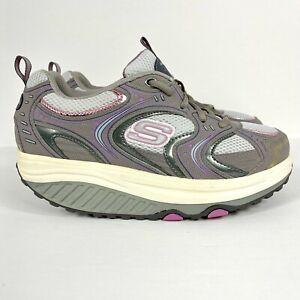 Skechers Shape Ups Women's Size 7 Fitness Walking Shoes Gray Pink 11806