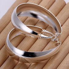 925Sterling Silver Fashion Jewelry Smooth Wide Egg Women Earrings Hoop EY018