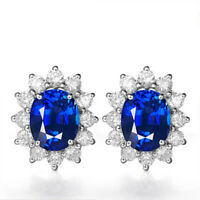 Women's Blue Sapphire Stud Earring in Real 925 Sterling Silver For Wedding Party