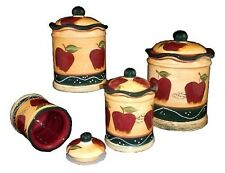Kitchen Canister Set 4 Pc Hand Painted Apple Country Multi Color Counter Storage