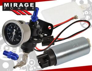 Electric Fuel Pump Replacement Upgrade +Jdm Black Adjustable Pressure Regulator