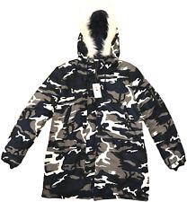 CAMOUFLAGE LONG PARKA Mens XL WINTER COAT Fur Hood BLUE CAMO Jacket Hood NEW NWT