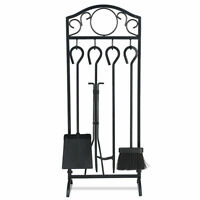 5 Pieces Fireplace Tools Set  4 Tools & Decor Holder Wrought Iron Fireplaces