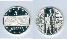 """Italia 5 euro 2003 """"ciencia y trabajo"""" plata pp"""