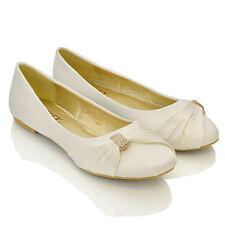 Womens Bridal Wedding Satin Pumps Ladies Slip On Prom Bridesmaid Pumps Shoes 3-8