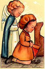 "Vintage Netherlands Postcard Praying Young Girl & an Angel in Church 3.5"" x 5.5"""