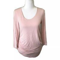 A Pea In The Pod Maternity Med Pink Shirt Side Ruched 3/4 Sleeve Modal/spandex