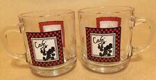 ☕️ Disney MiICKEY MOUSE CAFE Clear Glass Coffee / Tea MUG Cup SET of 2