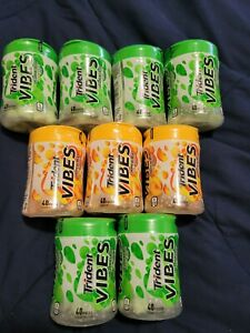 LOT OF (9) TRIDENT VIBES. Tropical Beat & Spearmint SUGAR FREE GUM, 40 PIECES
