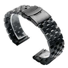 20/22/24mm Silver/Black Stainless Steel Watch Band Strap Bracelet Solid Links