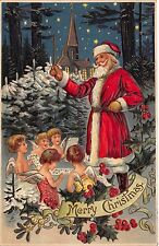 Christmas Postcard Santa Claus Conducting Angels Singing in Forest~109042