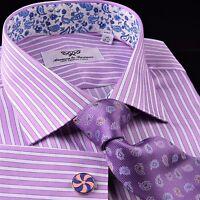 Pink Striped Men's Business Dress Shirt Formal Luxury Blue Paisley Floral Purple