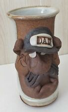 """Stoneware 3-D Face Tall Mug Man With Mustache 8 1/4"""" Tall """"DAD"""" w/ Large Handle"""