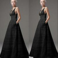 Womens Ball Gown Swing Deep V Neck Dress Maxi Full Length Sleeveless Cocktail SZ