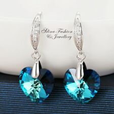 18K White Gold Filled Made With Swarovski Crystal Teal Heart Dangle Earrings
