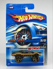 Hot Wheels 2006 #105 Olds 442 BLACK,GOLD EXTRA LARGE 5SP,CHROME BASE,CREASE CARD