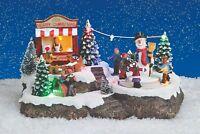 Winterszene bewegliche Figuren Deko Weihnachten Winter LED Landschaft 13345