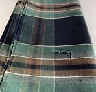 Japanese Vintage Plaid Cotton Textile Dark Blue x Green x Brown 59 8  x 13