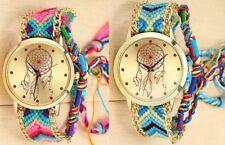 Neue modische Armbanduhr für Damen geflochten Edelstahl Frauen Quarz Traumfänger