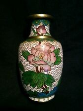 Small vintage Chinese cloisonne white bud vase 4 inches